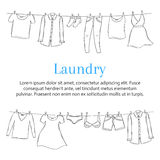 Plantilla de la bandera del servicio de lavadero con la ropa que cuelga en la cuerda para tender la ropa, bosquejo dibujado mano, Imagen de archivo libre de regalías