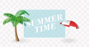 Plantilla de la bandera del tiempo de verano Paraguas de la palmera y de sol con un lugar transparente para el texto Vector para  Foto de archivo