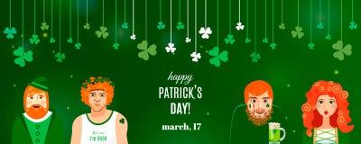 Plantilla de la bandera del trébol del concepto para el diseño del día de St Patrick ilustración del vector
