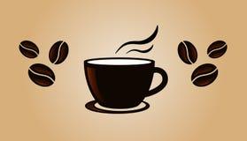 Plantilla de la bandera del vintage del café con las habas Fotografía de archivo