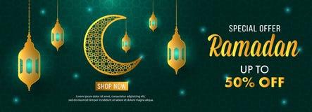 Plantilla de la bandera de la luna de Ramadan Sale Islamic Ornament Lantern de la oferta especial Imagenes de archivo