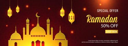 Plantilla de la bandera de la mezquita de Ramadan Sale Islamic Ornament Lantern de la oferta especial Imagen de archivo