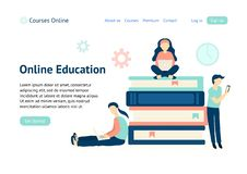 Plantilla de la bandera para el sitio web Tema en l?nea de la educaci?n ilustración del vector
