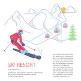 Plantilla de la bandera para la montaña Ski Resort fotos de archivo libres de regalías