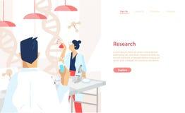 Plantilla de la bandera de la web con pares de científicos que llevan las capas blancas que conducen experimentos y la investigac ilustración del vector