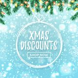 Plantilla de la bandera de la web de la venta de la Navidad Vector ilustración del vector