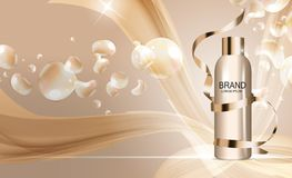 Plantilla de la botella del gel de la ducha para los anuncios o el fondo de la revista 3D vector realista Iillustration libre illustration