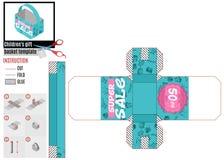 Plantilla de la caja brillante en textura del papel de la venta ilustración del vector