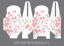 Plantilla de la caja del favor de la boda del regalo con el modelo de la naturaleza stock de ilustración