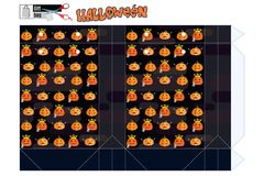 Plantilla de la caja de regalo para una tienda para Halloween con las calabazas divertidas S Imagenes de archivo