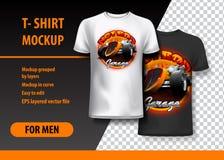 Plantilla de la camiseta, completamente editable con el logotipo del coche de carreras del vintage en dos colores Ilustración del libre illustration