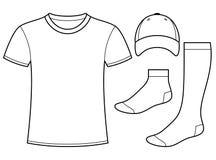 Plantilla de la camiseta, del casquillo y de los calcetines stock de ilustración