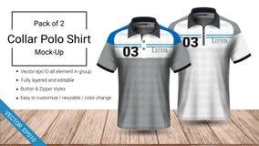 Plantilla de la camiseta del cuello del polo, fichero del vector eps10 acodado completamente y editable preparada para mostrar el stock de ilustración