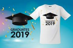 Plantilla de la camiseta para la clase de 2019, impresión del diseño de la camiseta, ejemplo de los graduados del vector stock de ilustración