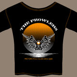 Plantilla de la camiseta para el miembro de club de la motocicleta ilustración del vector