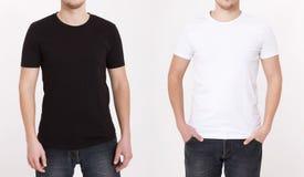Plantilla de la camiseta Visión delantera y trasera Mofa para arriba aislada en blanco foto de archivo libre de regalías