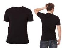 Plantilla de la camiseta Visión delantera y trasera Mofa para arriba aislada en el fondo blanco Camisa en blanco negra Imagen de archivo