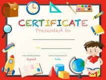 Plantilla de la certificación con el libro de lectura del muchacho ilustración del vector