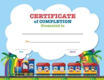 Plantilla de la certificación con los niños en el tren libre illustration