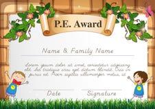 Plantilla de la certificación para el tema de la educación física ilustración del vector