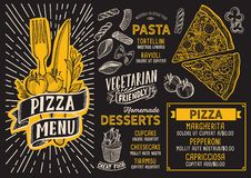 Plantilla de la comida del menú de la pizza para el restaurante con el garabato g a mano Stock de ilustración