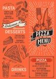 Plantilla de la comida del menú de la pizza para el restaurante con el garabato a mano libre illustration