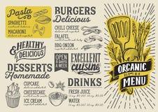 Plantilla de la comida del menú del vegano para el restaurante con el garabato a mano ilustración del vector