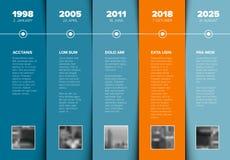 Plantilla de la cronología con los bloques del azul y los placeholders de la foto libre illustration