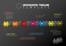 Plantilla de la cronología de Infographic del rompecabezas del vector Imagenes de archivo