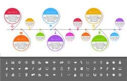 Plantilla de la cronología en estilo de la etiqueta engomada con el sistema de ico Foto de archivo libre de regalías