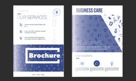 Plantilla de la cubierta del folleto del negocio en color azul Aviador con los iconos en línea del garabato, concepto limpio mode ilustración del vector