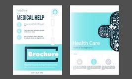 Plantilla de la cubierta médica del folleto en color azul Aviador con los iconos en línea de la medicina, concepto limpio moderno ilustración del vector
