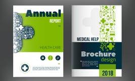 Plantilla de la cubierta médica del folleto en color azul Aviador con los iconos en línea de la medicina, concepto limpio moderno libre illustration