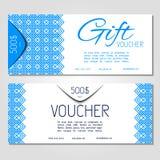 Plantilla de la cupón del ejemplo del vector del vale de regalo para la compañía Fotografía de archivo libre de regalías