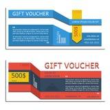 Plantilla de la cupón del vector del vale de regalo para el estilo corporativo de la compañía Imagenes de archivo