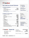 Plantilla de la declaración de la cuenta bancaria de la tarjeta de crédito