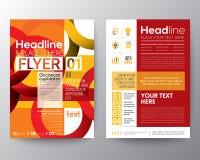 Plantilla de la disposición de diseño del aviador del folleto del negocio con la línea roja abstracta fondo del círculo de la for libre illustration