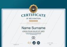 Plantilla de la disposición de la plantilla del diseño del marco del certificado de tamaño A4 Fotos de archivo libres de regalías