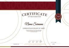 Plantilla de la disposición de la plantilla del diseño del marco del certificado de tamaño A4 Fotografía de archivo libre de regalías