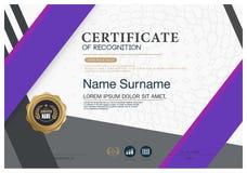 Plantilla de la disposición de la plantilla del diseño del marco del certificado de tamaño A4 Imagenes de archivo