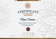 Plantilla de la disposición de la plantilla del diseño del marco del certificado de tamaño A4 Foto de archivo