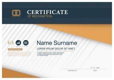 Plantilla de la disposición de la plantilla del diseño del marco del certificado de tamaño A4 Imágenes de archivo libres de regalías