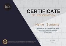 Plantilla de la disposición de la plantilla del diseño del marco del certificado de tamaño A4 Fotografía de archivo