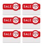 Plantilla de la etiqueta de la venta que ofrece diverso porcentaje de descuento ilustración del vector