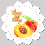 Plantilla de la etiqueta engomada Melocotón sano y fresco Foto de archivo libre de regalías