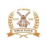 Plantilla de la etiqueta de la harina de trigo con el molino de viento Diseñe el elemento para el logotipo, emblema, muestra, car imágenes de archivo libres de regalías
