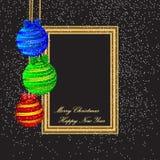Plantilla de la Feliz Navidad y del cartel de la Feliz Año Nuevo con las bolas del color en fondo negro Ilustración del vector Ma ilustración del vector