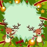 Plantilla de la frontera con dos renos para la Navidad Fotos de archivo