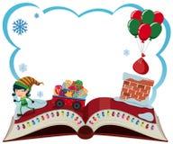 Plantilla de la frontera con el duende y los presentes de la Navidad Fotos de archivo libres de regalías