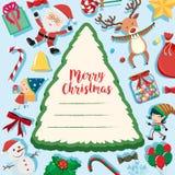 Plantilla de la frontera con los elementos de la Navidad ilustración del vector
